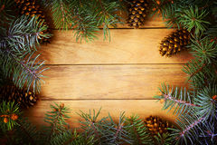 Christmas frame. Of pine needles Stock Images