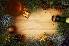 Christmas frame. Of pine needles Stock Photo