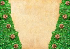 Christmas frame with Pine needles and cones Royalty Free Stock Photos