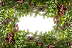 Christmas frame of pine tree branches - isolated on white Stock Photography