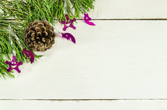 Christmas frame of pine tree branches. Stock Photo
