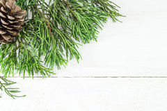 Christmas frame of pine tree branches Royalty Free Stock Photos