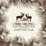 The Christmas frame. Christmas frame with pinecone and deers isolated on gray background. Vector illustration Royalty Free Stock Photo