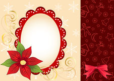 Christmas frame with  poinsettia. Royalty Free Stock Image