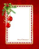 Christmas frame. Rectangle Christmas frame with fir and Christmas balls on red background Royalty Free Stock Photos