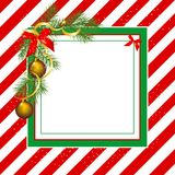 Christmas frame. Rectangle Christmas frame with fir and Christmas balls on red and white stripes background Royalty Free Stock Images