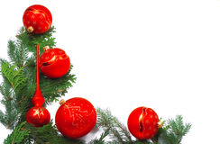 Christmas frame with red balls. Christmas frame made of pine needles and  red balls Royalty Free Stock Photography