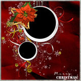 Christmas frame with red flower Royalty Free Stock Images