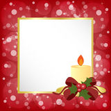 Christmas frame. Red Christmas frame with golden candle and bokeh background royalty free illustration
