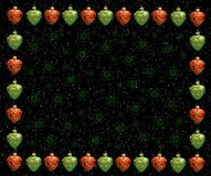Christmas frame . Red and green hearts royalty free stock photos