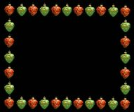 Christmas frame . Red and green hearts Royalty Free Stock Images
