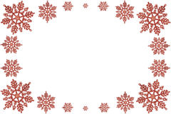 Christmas frame of red snowflakes. Stock Image