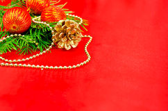 Christmas frame with red spheres Royalty Free Stock Image