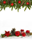 Christmas frame red stars  four-fifths Stock Image