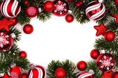 Red and white Christmas bauble frame on white Stock Image
