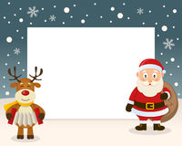 Christmas Frame - Reindeer & Santa Claus Royalty Free Stock Photo