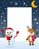Christmas Frame - Reindeer & Snowman Royalty Free Stock Photography
