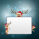 Christmas frame with reindeer Stock Images