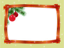 Christmas frame ribbon fir branches. Ball pattern Royalty Free Stock Photos