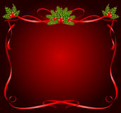 Christmas frame from ribbons Stock Images