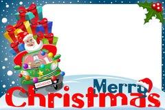 Christmas frame santa claus driving car gifts xmas night Royalty Free Stock Photos