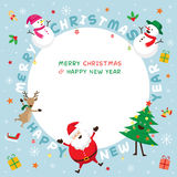 Christmas Frame, Santa Claus and Friends with Lettering Stock Images