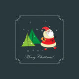 Christmas frame with Santa Claus and gift. Royalty Free Stock Photos