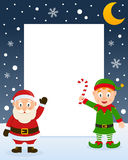 Christmas Frame - Santa Claus & Green Elf Stock Image
