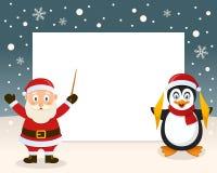 Christmas Frame - Santa Claus & Penguin Stock Image