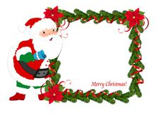 Christmas frame with Santa Stock Photography