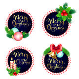 Christmas frame set design with candles bells branches  bow and Stock Image