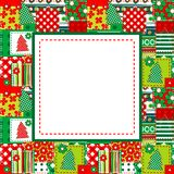 Christmas frame with sewed elements Royalty Free Stock Photos
