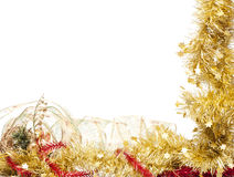 Christmas frame of shining  golden tinsel Stock Photography