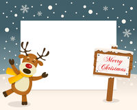 Christmas Frame - Sign & Cute Reindeer stock photography