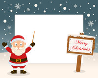 Christmas Frame - Sign & Cute Santa Claus Stock Photo