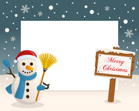 Christmas Frame - Sign & Cute Snowman Royalty Free Stock Photography
