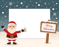 Christmas Frame Sign & Drunk Santa Claus stock photos