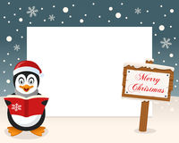 Christmas Frame Sign & Happy Penguin Royalty Free Stock Photo