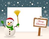 Christmas Frame Sign & Happy Snowman stock photo