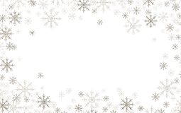 Christmas frame with silver and white snowflakes. Isolated on white vector illustration