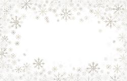 Christmas frame with silver and white snowflakes. Isolated on white royalty free illustration