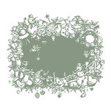 Christmas frame, sketch drawing for your design Royalty Free Stock Images