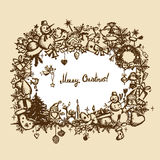 Christmas frame, sketch drawing for your design Royalty Free Stock Photos