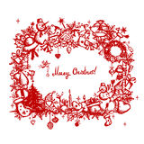 Christmas frame, sketch drawing for your design Royalty Free Stock Image