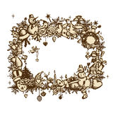 Christmas frame, sketch drawing for your design Royalty Free Stock Photo