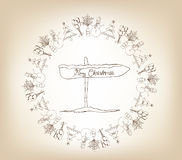 Christmas frame, sketch drawing for your design Stock Photography