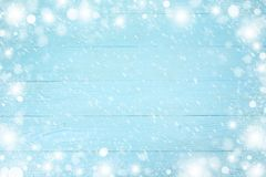 Christmas frame of snowflake with copy space, on blue wooden background. Top view stock images