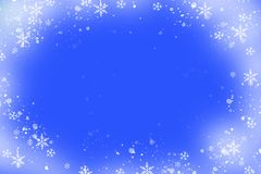 Christmas frame with snowflakes. On a blue background. Festive decor vector illustration