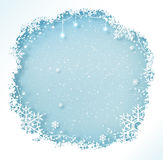Christmas frame with snowflakes. Blue and white Christmas frame with snowflakes and falling snow Royalty Free Stock Photos