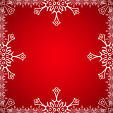 Christmas frame with snowflakes on the edge Stock Image